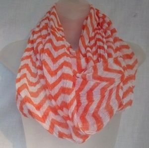 Accessories - Orange/White stripped infinity scarf